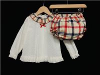 *SALE* Gorgeous Baby Girl Spanish Beige Collar Shirt with Checked Pants Set Long Sleeve